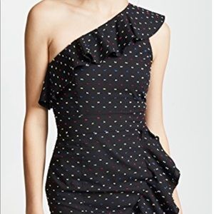 Wayf black with multi colored polka dots dress